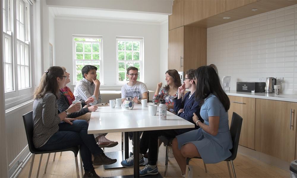 Scholars in the Ertegun House kitchen